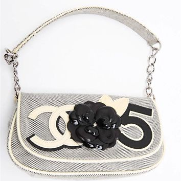 CHANEL Womens Ivory+Black Canvas Flower CC Logo Shoulder Flap Bag Handbag Purse