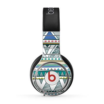 The Abstract Blue and Green Triangle Aztec Skin for the Beats by Dre Pro Headphones