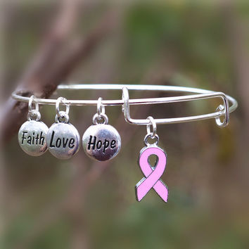 Fashionable Breast Cancer Awareness Bangle Faith Hope Love Charm Bracelet Wish Jewelry