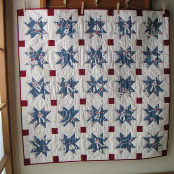Nautical crib quilt baby red white and blue nursery bedding