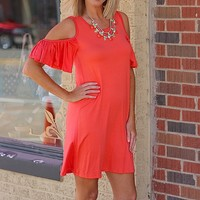 Light & Breezy Open Shoulder Summer Dress - Coral