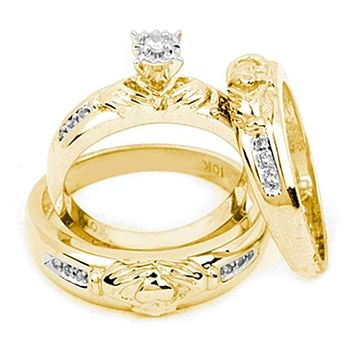 14kt Yellow Gold His & Hers Round Diamond Claddagh Matching Bridal Wedding Ring Band Set 1/8 Cttw - FREE Shipping (US/CAN)