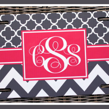 License Plate Monogrammed Gifts Monogram Car Accessories Personalized Car Tags License Plates Two Patterns of Your Choice Pretty in Pink