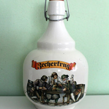 RARE! Vintage Bottle BECHERFRUG Vetro Brev, Flask, Glass Bottle, Pitcher, Decanter