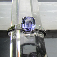 Tanzanite Diamond Engagement  Ring in 14k Gold by pristinejewelry
