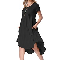 Black Short Sleeve High Low Pleated Pockets Casual Swing Dress