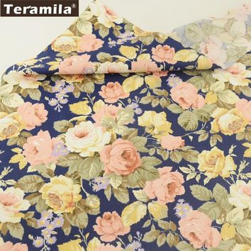 Teramila Fabric 100% Cotton Blue Twill Material Bed Sheet Printed Blooming Flower Design Sewing Textile Scrapbooking Crafts CM