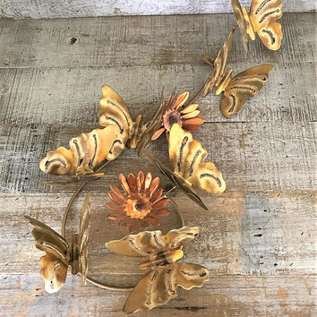 Metal Wall Art Butterfly and Flower Metal Wall Hanging Brass Butterfly Wall Hanging Brass and Copper Sculpture Woodland Decor Mid Century