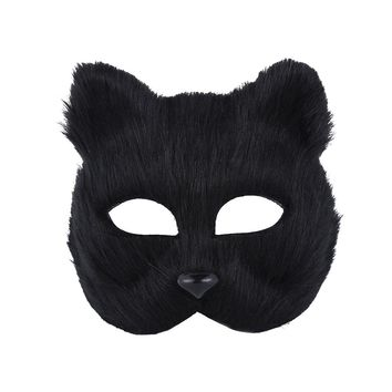 Fancy Dress Fox Mask Half Face Animal Mask Cosplay Costume Accessory for Halloween Carnival Masquerade