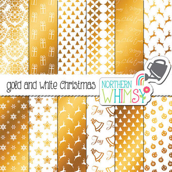 White and Gold Christmas Digital Paper Pack – gold foil Christmas scrapbook paper - Christmas backgrounds - printable paper - commercial use