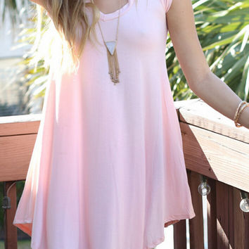 Womens Summer Pink Comfortable Loose Irregular Dress Gift 92