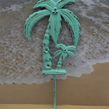 Palm Tree Nautical Cast Iron Painted Distressed Cottage Chic Blue Wall Decor Beach Jewelry Coat Leash Hat Towel Hook