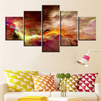 5 pc Set office and studio  abstract cloud NO FRAME Oil Painting Canvas Prints Wall Art Pictures For Living Room Decorations