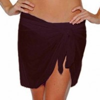 Luxury Divas Lightweight Black Semi Sheer Short Sarong Bathing Wrap
