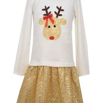 Bonnie Jean Reindeer Top w/Mesh Skirt.