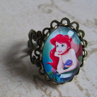 The Little Mermaid jewelry Ariel ring gothic style ring cute summer filigree design Disney jewelry