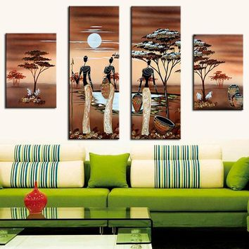 4 Pcs/Set No Framed Hand Painted African Women Figure Oil Painting Exquisite African Landscape Art Home Decor Canvas Painting