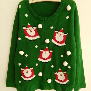 New-arriving Green Ugly Christmas Sweaters for Women Santa Claus Snowballs Patterns Pullovers S-XL