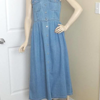 1980s Moda International Denim Dress, Loose Fit, High Waist, Size 14, All Cotton, Metal Buttons, Vintage Clothing, 1980s Fashion, Boho Dress