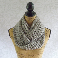 Ready To Ship Infinity Scarf Crochet Knit Silver Grey Gray Women's Accessories Eternity Fall Winter