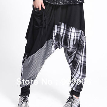 New Arrival Baggy Harem Hippie Hip-hop Black & White Stitching Pants Trouser pants collapse Free Shipping With Tracking Numbe