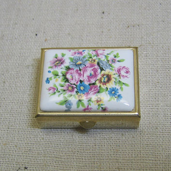 Brass Tiny Pillbox or Trinket Box, Porcelain Top, 1980's Mint Never Used