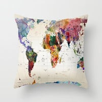 map Throw Pillow by Mark Ashkenazi