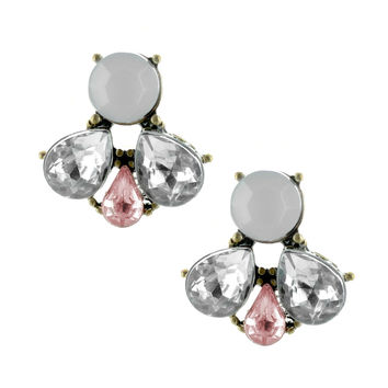 Audrey Cluster - FINAL SALE 14K Gold Plated Brass Stud Earrings With Clear, Frosted And Light Pink CZs