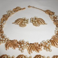Crown Trifari Necklace Earrings Bracelet Pearls Late 1950's-1960's