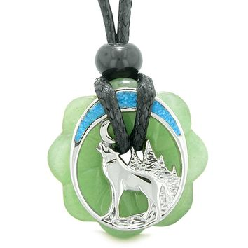 Unique Magic Howling Wolf Moon Amulet Lucky Celtic Donut Green Quartz Spiritual Protection Power Necklace