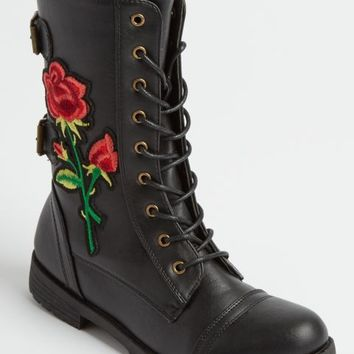 Embroidered Blossom Combat Boot By Wild Diva