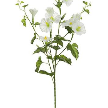 """Cream Artificial Morning Glory Wildflowers - 31"""" Tall"""