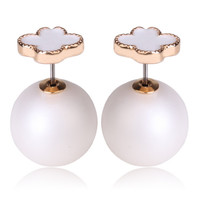 Mise en Dior Style Tribal v.s Van Cleef Earrings - White & Matte White