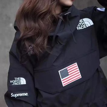 Supreme X TNF Women Men Fashion Logo Print Loose Hooded Jacket Coat Windbreaker-1