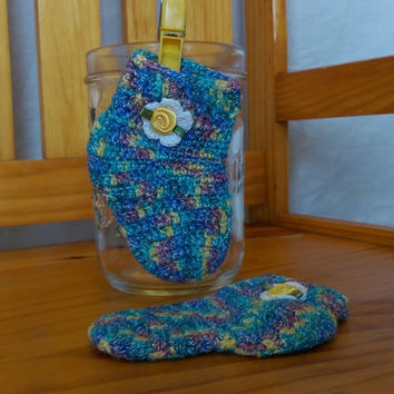 Crocheted Baby Socks Crochet Baby Booties 0-3 months Blue Variegated