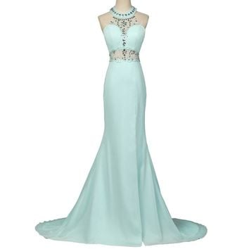 Nitree Modest Light Blue Mermaid Prom Dress Zipper Back Robe de Soiree Crystal Beaded Fast Shipping Long
