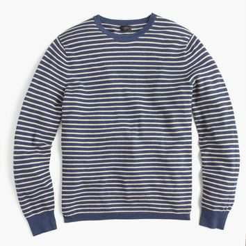 Cotton-cashmere piqué crewneck sweater in stripe