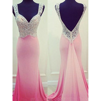Sleeveless Beaded Prom Dresses Open Back with Straps pst0137