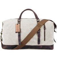 Jack&Chris Canvas Leather Travel Tote Duffel Shoulder Handbag Bag CB1004