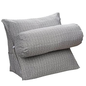 Halovie Adjustable Back Wedge Cushion Pillow 18.5*17.7*9inch Sofa Bed Office Chair Rest Cushion Neck Support Pillow Pearl Wool (Gray)