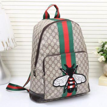 Gucci Unisex Trending Casual Fashion Classic Print Multicolor Stripe Bee Embroidery Backpack Large Capacity Travel Double Shoulder Bag G