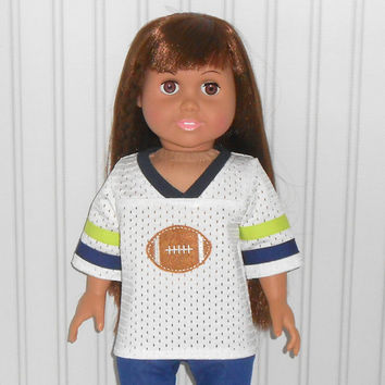 18 inch Girl or Boy Doll Clothes White Football Jersey with Navy Blue and Bright Green Trim American Doll Clothes