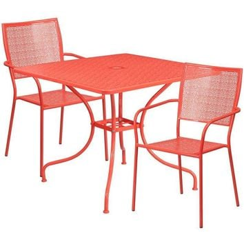 35.5'' Square Indoor-Outdoor Steel Patio Table Set with 2 Square Back Chairs
