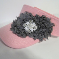Adorable Pink Golf Sun Visor with Grey Chiffon Flowers and Beautiful Rhinestone Accent Golf Accessories Hats