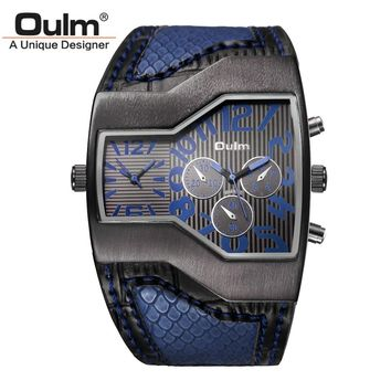 Large Dial New Designer Fashion Quartz Watches for Men Wide Leather Band