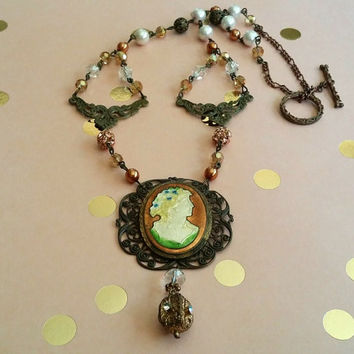 Assemblage Art Necklace | Vintage Jewelry | Cameo | Crystals | Copper Pearls | Upcycled | Charms | Statement | Victorian Necklace
