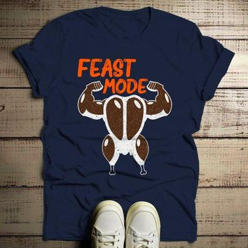 Men's Funny Thanksgiving T Shirt Feast Mode Graphic Tee Muscle Turkey Victory Shirts