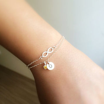 tiny personalized bracelet - silver personalized bracelet - infinity silver bracelet - chain silver bracelet - custom and infinity bracelet
