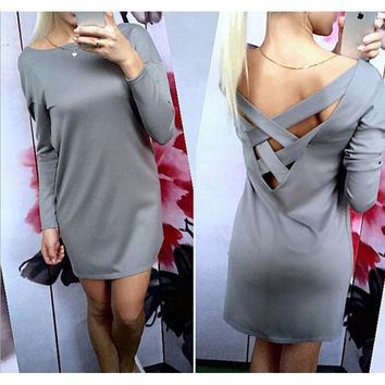 Loose Round Neck T-Shirt Dress-1
