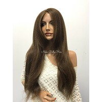 Brown Brunette Thick Human Hair Blend Lace Front Wig -  Lexa 610171*